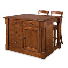 Product Image for Home Styles Aspen Rustic Cherry Kitchen Island with Barstools 1 out of 5