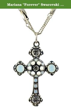 """Mariana """"Forever"""" Swarovski Crystal Silver Plated Double Chain Cross Pendant Necklace. About Mariana: The artist and jewelery designer, Mariana has been creating unique and original exotic pieces of fashion jewellery since 1997. Marianas jewelery is internationally recognized in major fashion centers around the world. The quality and ever changing designs have enabled the Mariana brand to achieve substantial growth all over the world. Marianas designs appeal to women of all ages from the..."""