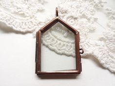 1 Copper House Glass Locket Home Shape Locket Flat Doube by BuyDiy