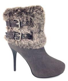 Gray Faux Fur Ankle Boots
