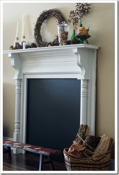 faux fireplace: So want to do this to a blank wall, but put a beautiful candle decor in the middle. I have always wanted a fireplace. Faux Foyer, Faux Mantle, Faux Fireplace Mantels, Fireplace Surrounds, Fireplace Makeovers, Craftsman Fireplace, Cottage Fireplace, Simple Fireplace, Fireplace Garden