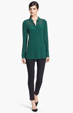 quite lovely Trouvé Tonal Panel Silk Shirt available at #Nordstrom