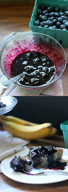 Paleo Blueberry Banana Swirl Cake with Homemade Blueberry Compote | From Bakerita.com