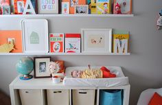 IKEA Expedit inspiration: white bookshelves double as changing table & storage in this modern nursery Kids Room Art, Kids Bedroom, Kids Rooms, Ikea Changing Table, Shelf Arrangement, White Bookshelves, Ikea Expedit, Nursery Organization, Nursery Inspiration