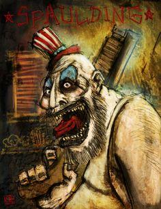 Captain Spaulding by Oli-Carpentier on DeviantArt Halloween Movies, Halloween Horror, Rob Zombie Film, Captain My Captain, Iconic Movies, Horror Movies, Horror Art, Superhero, Painting