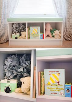 Kate's Mint Green and Yellow Nursery - window bench with cubbies