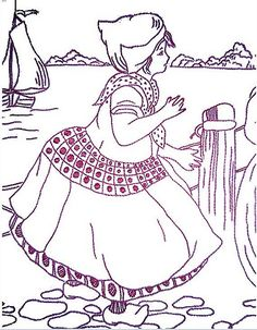 redwork embroidery 5 dutch girl by frambozerood, via Flickr