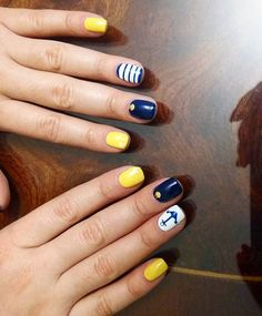Navy Blue and Yellow Nautical Nails With Anchor⚓️
