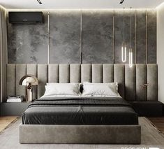 Latest Wall Bedroom Design Ideas That Unique 01 Luxury Bedroom Design, Bedroom Bed Design, Modern Bedroom, Modern Beds, Loft Interior, Interior Design, Upholstered Wall Panels, Bedroom Wall Panels, Bedroom Furniture