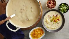 Loaded Potato Soup recipe and reviews - Bacon, ham and potatoes come together to form a cheesy soup – a tasty lunch.