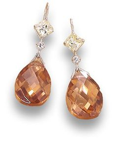 Yellow, Clear and Champagne CZ Earrings