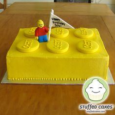 Stuffed Cakes: Big Ol' Yellow Lego Cake - So cute for a Lego Birthday!