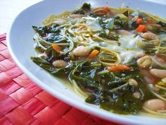 Beans, Greens, and Broken Spaghetti Soup - Proud Italian Cook  replace spaghetti with quiona for more protein & less carbs