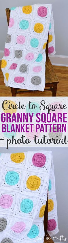 Circle to Square Granny Square Blanket | Crochet Blanket Pattern | Free Pattern by Just Be Crafty