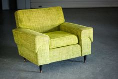 A cozy vintage club chair comes to life in vibrant spring green. #Etsy