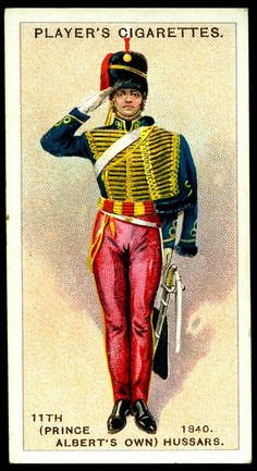 "Player's Cigarettes ""Regimental Uniforms, Second Series"" (issued in (Prince Albert's Own) Hussars ~ Trooper, 1840 British Army Uniform, British Uniforms, British Soldier, Military Cards, Crimean War, Arm Guard, Dancing King, French Army, Tudor History"