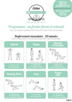 Yoga Fitness Flat Belly programme-fessier-ferme-rebondi - There are many alternatives to get a flat stomach and among them are various yoga poses. Yoga Fitness, Circuit Fitness, Sport Fitness, Circuit Training, Health Fitness, Fitness Watch, Fitness Tips, Fitness Motivation, Sport Motivation