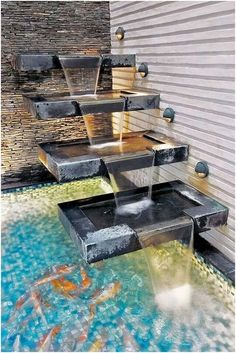 30 Fantastic Garden 30 Fantastic Garden Waterfall For Small Garden Ideas Water Fountain Design, Garden Water Fountains, Indoor Fountain, Fountain Ideas, Indoor Pond, Modern Fountain, Outdoor Fountains, Indoor Waterfall, Garden Waterfall