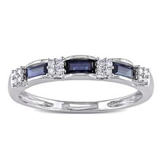Miadora 10k White Gold Sapphire and 1/10ct TDW Diamond Ring (H-I, I1-I2) | Overstock.com Shopping - The Best Deals on Gemstone Rings