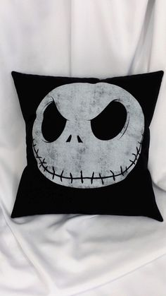 The pumpkin king Jack Skellington is ready to make his appearance in your bedroom. This pillow cover is made from a Nightmare Before Christmas cotton t-shirt. It features the bony face of Jack on a bl Sally Nightmare Before Christmas, Nightmare Before Christmas Decorations, The Night Before Christmas, Halloween Decorations, Christmas Baby, Christmas Themes, Xmas, Disney Halloween, Halloween Town