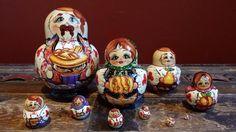 10pc Matryoshka Handmade Hand Painted Harvest Design Nesting Doll Set Signed…