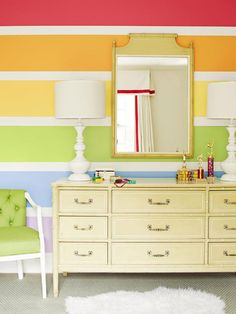 rainbow wall with 12 inch color strips and 3 inch white strips
