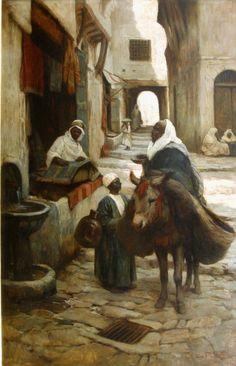 Adam Edwin PROCTOR (1864-1913) Scène de rue en Afrique du Nord Huile sur toile, signée en bas, à droite et datée 1899. 122 x 76,5 cm (rentoilé, restaurations) - Morand - 27/11/2014