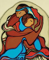 """Design by Potawatomi Artist - Daphne Odjig. """"The joy a couple shares the moment that they realize that they will spend the rest of their lives together."""" - Daphne Odjig (Wholesale: Magnets are sold in multiples of Native American Prayers, Native American Art, Daphne Odjig, Claudia Tremblay, Woodland Art, Aboriginal Artists, Native Art, Native Indian, Modern Art Paintings"""