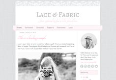 Responsive Blogger Premade Template. Lace & fabric template. Blog design. Cute template with soft cloth and lace textures.
