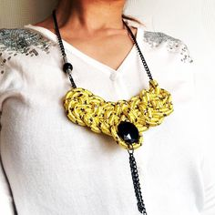 Yellow braided necklace- available-22$ http://ift.tt/1baVisQ #yellow #necklace #rope #cord #knot #sailorknot #knottednecklace #braided #blackchain #long #geometric #futuristic #artdeco #contemporary #urban #urbanstyle #fashionblog #etsy #fashionable #fashion
