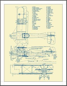 Aviation Blueprints Poster, 17x22,  wall decor, fine art. $45.00, via Etsy.