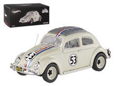 """1962 Volkswagen Beetle \The Love Bug\"""" Herbie #53 Elite Edition 1/43 Diecast Car Model by Hotwheels"""""""