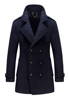 Warm Wool Mens Jackets and Coats Winter Famous Casual Flannel Fashion Woollen British Longer Breasted Section