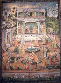 A painting on cloth that shows Lord Krishna expanding Himself nine times into several of the scenes in the painting. Krishna Lila, Shree Krishna, Krishna Art, Radhe Krishna, Indian Traditional Paintings, Indian Arts And Crafts, Lord Krishna Wallpapers, Candy Art, India Art
