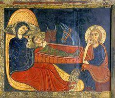 Mestre d'Avià, Naixement de la taula d'altar de Santa Maria d'Avià, v. 1170-1180, MNAC, Barcelona Bed, Painting, Stream Bed, Painting Art, Paintings, Beds, Painted Canvas, Bedding, Drawings