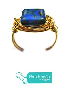 Blue Moon Czech Art Glass Gold Wire Wrapped Ring from Designer Wire Jewelry http://www.amazon.com/dp/B016APV1WO/ref=hnd_sw_r_pi_dp_Nh7pwb1NN14PR #handmadeatamazon