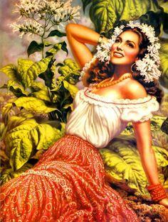 Retro Mexico: Jesus Helguera (May 1910 – December was a Mexican… Mexican Artwork, Mexican Folk Art, Mexican Paintings, Mexican Girls, Mexican Artists, Jorge Gonzalez, Arte Latina, Latino Art, Calendar Girls