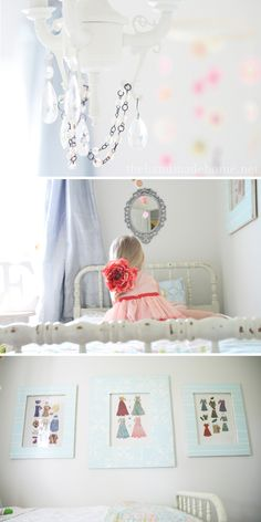 love the bunting over the mirror - paper accordian flowers? could do w/ scrapbook paper maybe?