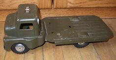 Vintage Structo Pressed Steel US Military Army Hauler Truck Flat Bed #Structo