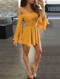 Off the Shoulder Strapless Long Sleeves Short Chiffon Homecoming Dress - Cute Outfits Elegant Dresses, Pretty Dresses, Sexy Dresses, Dress Outfits, Casual Dresses, Fashion Dresses, Formal Dresses, Wedding Dresses, Midi Dresses