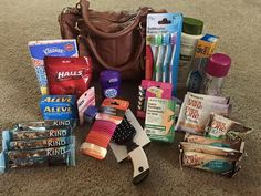 Homeless woman's gift bag. Take old purse, and instead of pitching it, fill out with hygiene necessities and healthy snacks for a homeless woman. Maybe add diapers and wipes?