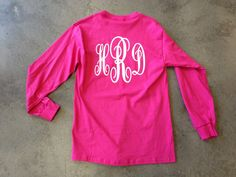 Pink monogrammed long-sleeved Tee.  Every Southern girl must have at least one of these!