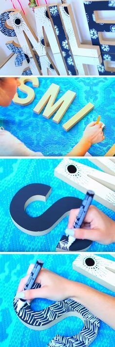 Patterned Letters   18 DIY Tumblr Dorm Room Ideas for Girls that you will want to recreate!