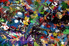 """Maxwell Dickson """"Jazz Musician"""" Dizzy Gillespie Trumpet Performance Canvas Wall Art #Jazz #DizzyGillespie #AbstractArt #ContemporaryArt #ModernArt #TrumpetArt #ManCaveArt"""
