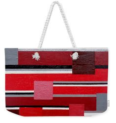 Contemporary Weekender Tote Bag featuring the painting Red Square by Tara Hutton