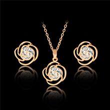 LUCKY YEAR módní Gold Color šperky set květ se zirkony náušnicové a Neckalce šperky sady pro ženy a dívky (Čína (pevninská část))