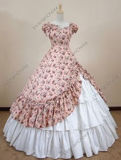 Civil War Ball Gowns   ... Southern Belle Civil War Cotton Ball Gown Dress Reenactment 208 S