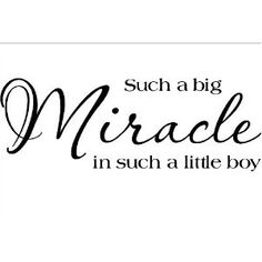 Such A Big Miracle In Such A Little Boy vinyl lettering wall saying home decor quote decal 10 tall x 28 wide Love My Boys, Love Of My Life, Baby Love, Baby Baby, Preemie Babies, Preemies, My Champion, Miracle Baby, Wall Quotes