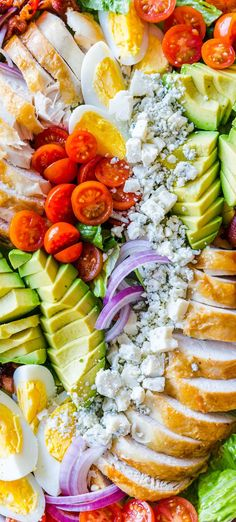The homemade dressing on this Chicken Cobb Salad is crazy good! This salad is packed with protein and so easy using Rotisserie Chicken and boiled eggs. So much avocados, tomatoes and the best kind of cheese for Cobb Salad! recipes with chicken Vinaigrette Salad Dressing, Salad Dressing Recipes, Best Salad Recipes, Healthy Recipes, Cobb Salad Ingredients, Clean Eating Recipes, Healthy Eating, Chicken Salad, Chicken Eggs