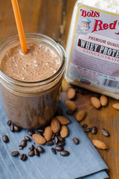 The Almond Mocha Shake- blend ¼ cup whey protein powder, 1 cup vanilla almond milk, 1 tsp instant coffee powder, 1 Tbsp cocoa powder, 1 small banana, and a handful of ice